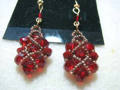 Red Quilted Earrings 2
