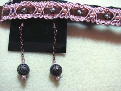 Victorian Choker and Copper Ball Earrings 2