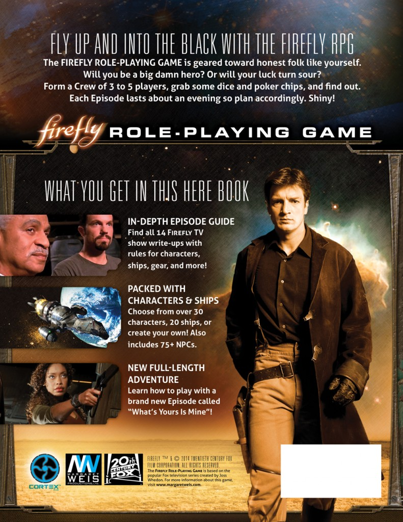 Firefly RPG Back Cover
